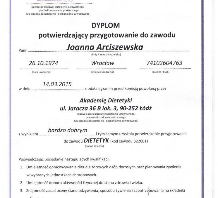 DIETETYK Wrocław Dyplom