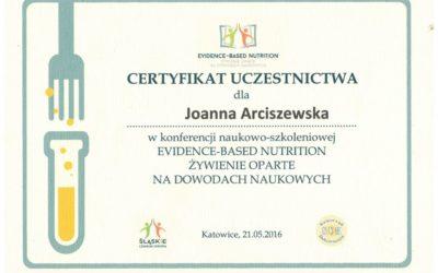 Evidence_based Nutrition Certyfikat