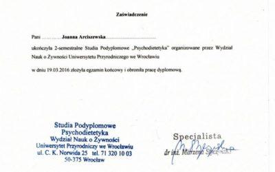 Psychodietetyk – zaświadczenie
