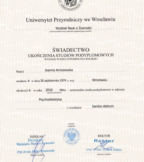 Psychodietetyka – świadectwo ukończenia studiów