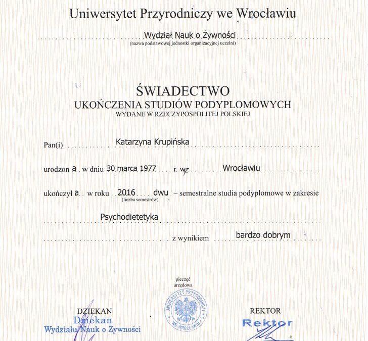 Świadectwo ukończenia studiów – Psychodietetyka